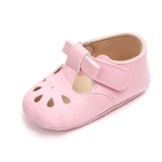 Princess Baby Girl Anti Slip Hollow Out First Walkers PU Leather Shoes, Shoe Size:11cm(Pink )