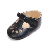 Princess Baby Girl Anti Slip Hollow Out First Walkers PU Leather Shoes, Shoe Size:11cm(Black )