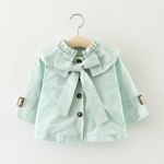Light Blue Spring and Autumn Girls Purified Cotton Big Bow-knot Long Sleeve Jacket, Height:90cm