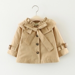 Khaki Spring and Autumn Girls Purified Cotton Big Bow-knot Long Sleeve Jacket, Height:85cm