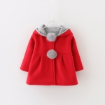Autumn Rabbit Ear Plush Ball Cotton Coat Girls Hooded Jacket, Height:90cm(Red)