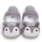 Baby Shoes Fox Striped Cute Baby Infant Girls Anti-slip Soft Sole Crib Shoes, Size:11cm(Gray)