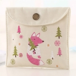 Animals Pattern Buckle Girls Diaper Sanitary Napkin Storage Canvas Bag Sanitary Pads Package Bag(White)