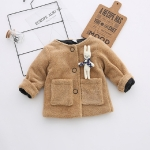 Spring and Autumn Fleece Thicken Warm Bunny Decoration Jacket Girls Clothing, Tag Size:80cm(Yellow)