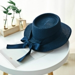 British Style Flat Top Straw Weaving Beach Cap Sun Hat with Bow-knot Ribbon(navy)