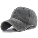 Women Solid Color Washable Purified Cotton Baseball Cap Hip Hop Hat, Size:Adjustable 50-60cm(Black)