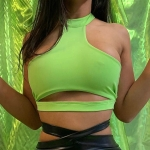 Sexy Solid Strapless Hanging Neck Halter Yoga Sport Vest, Size:S(Green)
