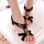 Bohemian Flat Bottom Women Sandals, Shoe Size:36(Black)