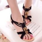 Bohemian Flat Bottom Women Sandals, Shoe Size:37(Black)