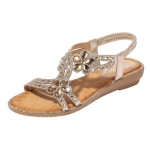 Bohemia Summer Women Crystal Flat Sandals, Shoe Size:36(Gold)