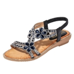 Bohemia Summer Women Crystal Flat Sandals, Shoe Size:40(Black)