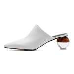 First Layer Cowhide Toe Cape Women Shoes, Shoe Size:34(White)