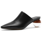 First Layer Cowhide Toe Cape Women Shoes, Shoe Size:35(Black)