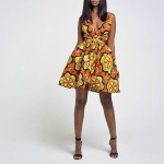 Fashion Floral Print Summer Party Backless, Size:S(Yellow)