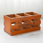 Retro Wooden Box Rectangular Wooden Office Desk Stationery Remote Control Storage Box Vintage Color