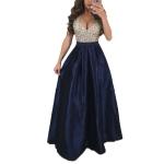 Big Swing Sequins V-neck Dress, Size: L(Navy Blue)
