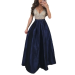 Big Swing Sequins V-neck Dress, Size: 3XL(Navy Blue)