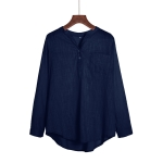 Solid Color Wild Long Sleeved Collar Pullover Ladies Professional Shirt, Size: 4XL(Navy Blue)