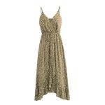 Women Sling Print Dress, Size:S(Apricot)