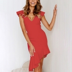 Sleeveless Ruffled Slim Backless Sexy Dress, Size: L(Red)