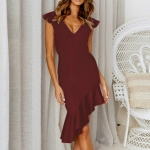 Sleeveless Ruffled Slim Backless Sexy Dress, Size: XL(Wine Red )