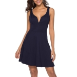 Large Swing Skirt Explosion Sexy V-neck Halter Dress, Size: L(Black)