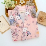 Women Cotton Kimono Bathrobe Pajamas, Size: M(Pink)