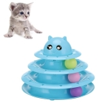 Pet Three-layer Turntable With Ball Cat Fun Toy Cat Scratch Board Pet Claws Supplies(Blue )