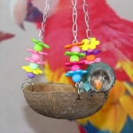 Pet Bird Parrot Natural Coconut Shell Swing Perch Bed Toy