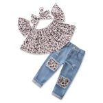 Girls Leopard Print Tube top + Denim Trousers + Hair Band Set, Kid Size:90cm(Leopard)