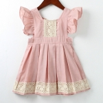 Summer Girls Retro Style Ruffled Lace Backless Dress, Kid Size:90cm(Pink)