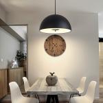 40cm Restaurant Bar Chandelier Living Room Simple Bedroom Bedside Study Chandelier with 12W Warm Light LED(Black)