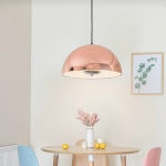 40cm Restaurant Bar Chandelier Living Room Simple Bedroom Bedside Study Chandelier with 12W Warm Light LED(Red Copper)