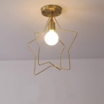 Double-frame Ceiling Lamp All Copper Personality Brass Five-pointed Star Chandelier without Light Source