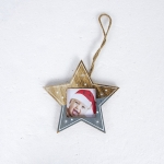 2 PCS Christmas Photo Frame Christmas Creative Photo Frame Pendant Christmas Tree Decoration Pendant, Specification:Pentagram(Grey)