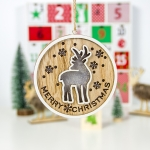 2 PCS Wooden Painted Christmas Round Light Card Pendant Creative Hollow Christmas Tree Decoration Listing(Deer )