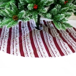 2 PCS Creative Christmas Tree Bottom Fabric Decorative Print Tree Skirt, Size:120x120CM(Red and White Striped )