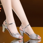 Mid-heeled buckle Rhinestone Sandals, Shoes Size:35(Silver)