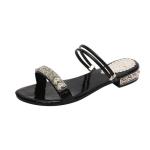 Woman Low Heel Rhinestone Sandals, Shoe Size:35(Black)