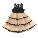 Summer Girls Sleeveless Lace Tutu Dress, Kid Size:140cm(Light Brown)