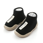 Unisex Baby Walkers Toddler Soft Rubber Sole Shoe Knit Anti-slip Booties, Size:14-15cm(Black)