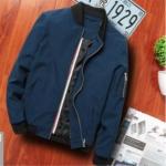 Men Zipper Jacket Male Casual Streetwear Hip Hop Slim Fit Pilot Coat Men Clothing, Size: XL(Dark Blue)