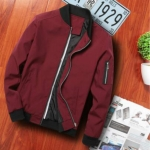 Men Zipper Jacket Male Casual Streetwear Hip Hop Slim Fit Pilot Coat Men Clothing, Size: XXXXL(Wine Red)