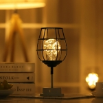 Retro Classic Iron Art LED Table Lamp Reading Lamp Night Light Bedroom Lamp Desk Lighting Home Decoration, Lampshade Style:Red Wine Glass