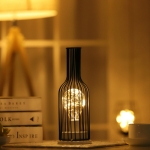 Retro Classic Iron Art LED Table Lamp Reading Lamp Night Light Bedroom Lamp Desk Lighting Home Decoration, Lampshade Style:Red Wine Bottle
