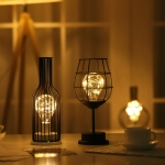 Retro Classic Iron Art LED Table Lamp Reading Lamp Night Light Bedroom Lamp Desk Lighting Home Decoration, Lampshade Style:Red Wine Glass + Red Wine Bottle