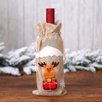 2 PCS Christmas Gift Wine Bottle Dust Cover Bag Home Table Decor(Burlap moose)