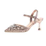 One-button Buckle Wild Sexy Hollow Pointed Diamonds High Heels, Shoe Size:34(Champagne Hollow 6cm)