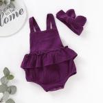 5 PCS 2 in 1 Baby Girl Solid Color Halter Jumpsuit Romper + Headband Set, Kid Height:70cm(Dark Purple)