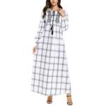 Plaid Embroidered Fresh Dress, Size:XXXXL(White)